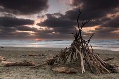 Sunset Beach Hut Stock Photography
