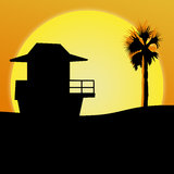 Sunset Beach Illustration Royalty Free Stock Image