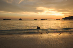 Sunset on the beach of indian sea Royalty Free Stock Images