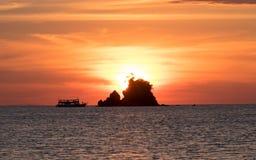 Sunset on the beach Stock Photography