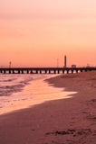 Sunset at the beach. Italy, Jesolo Stock Image
