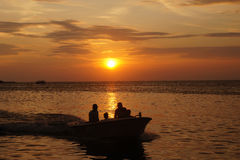 Sunset. On a beach in Jepara, Central Java, Indonesia Royalty Free Stock Image
