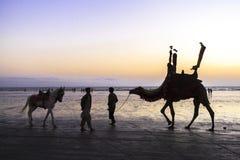 Sunset at Beach of Karachi Royalty Free Stock Photos