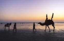 Sunset at Beach of Karachi Stock Image