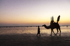 Sunset at Beach of Karachi Stock Image