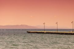 Sunset on a beach. Kos, Greece. stock photo