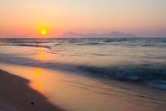 Sunset on a beach. Kos, Greece. Royalty Free Stock Photography