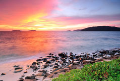 Sunset at the beach in Kota Kinabalu Sabah Borneo Stock Image