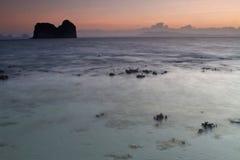 Sunset at beach in Krabi Thailand Royalty Free Stock Photo