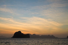 Sunset at beach in Krabi Thailand Royalty Free Stock Images