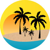 Sunset Beach label Royalty Free Stock Photos