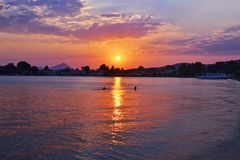 Beach sunset at Eretria Euboea Greece Royalty Free Stock Image