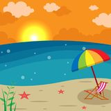 Sunset Beach Landscape - Lounge chair with Umbrella  Illustration, Holiday season summer background. 