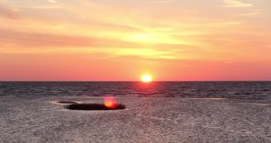Sunset on the beach Latvia, Baltic sea timelapse stock footage