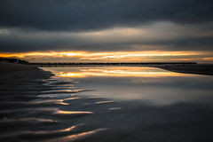 Sunset on the beach in Leba, Baltic Sea, Poland Royalty Free Stock Images