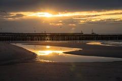 Sunset on the beach in Leba, Baltic Sea, Poland Stock Photos