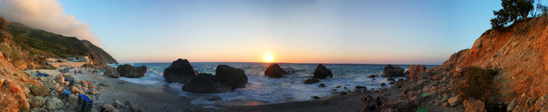 Sunset on the beach - Lefkada Island panorama Royalty Free Stock Photo