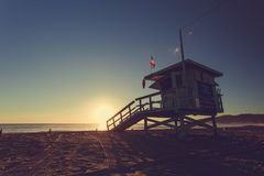 Los Angeles Beach, California, United States. Sunset on the beach with lifeguard stand in Los Angeles, California, United States Stock Image