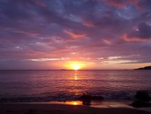 Sunset at the beach. Sunset at the beach, Located in Lecheria, Venezuela, photo taken looking for the best moment of the day Stock Photos