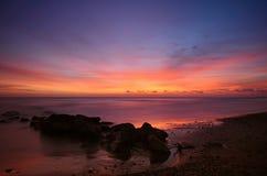 Sunset at the beach, long exposure shot Royalty Free Stock Image