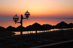 Sunset at beach of the luxury hotel Royalty Free Stock Photos