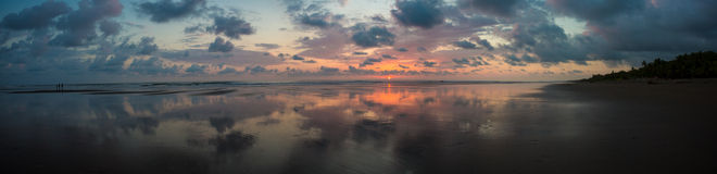 Sunset on the beach of Matapalo in Costa Rica Stock Photos