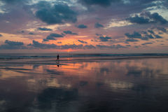 Sunset on the beach of Matapalo in Costa Rica Royalty Free Stock Photos