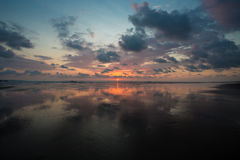 Sunset on the beach of Matapalo in Costa Rica Royalty Free Stock Image