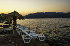 Sunset at the beach in Montenegro Royalty Free Stock Photo