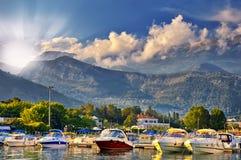 Sunset on the beach in Montenegro Stock Photos
