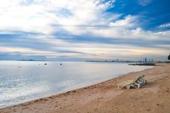 Sunset beach near Pattaya. Beautiful beach near Pattaya Najomtien Thailand stock photo