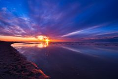 Sunset on the beach in the Netherlands Stock Images