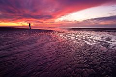 Sunset on the beach in the Netherlands Stock Image