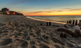 Sunset at the beach in Niechorze Stock Photography