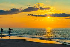 Sunset on the beach on north side of the Provincelands Cape Cod, Atlantic ocean view MA US. Sunset on the beach on north side of the Provincelands Cape Cod stock photos