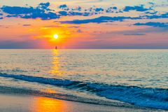 Sunset on the beach on north side of the Provincelands Cape Cod, Atlantic ocean view MA US. Sunset on the beach on north side of the Provincelands Cape Cod royalty free stock image