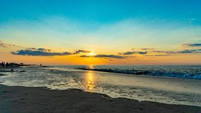 Sunset on the beach on north side of the Provincelands Cape Cod, Atlantic ocean view MA US. Sunset on the beach on north side of the Provincelands Cape Cod stock photo