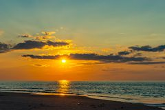 Sunset on the beach on north side of the Provincelands Cape Cod, Atlantic ocean view MA US. Sunset on the beach on north side of the Provincelands Cape Cod royalty free stock images