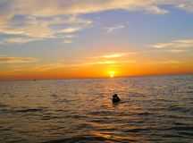 Sunset beach ocean panorama holidays Royalty Free Stock Image