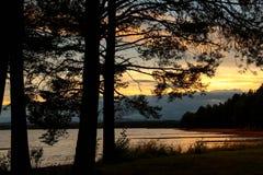 Sunset beach at Orsa Lake in Dalarna, Sweden. Sunset beach at Orsa Lake in Orsa, Dalarna, Sweden Stock Photos