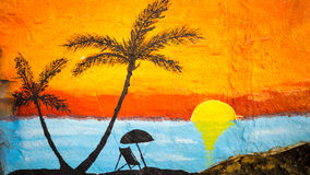 Sunset On A Beach Painting Royalty Free Stock Image