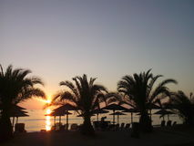 Sunset beach palm trees hotel portocarras resort Royalty Free Stock Images