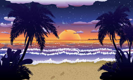 Sunset on beach with palms Stock Photo