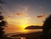 Sunset beach panaroma on holiday stock image