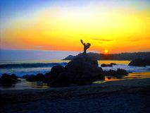 Sunset beach panorama ocean summer time holidays royalty free stock images
