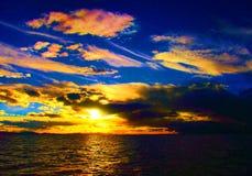 Sunset beach panorama ocean summer time holidays stock photo