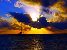 Sunset beach panorama ocean summer time holidays stock images