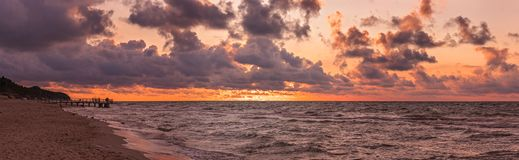Sunset beach panorama Stock Image