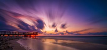 Sunset beach panorama Stock Photography