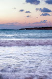 Sunset at the beach in Paphos Stock Photos